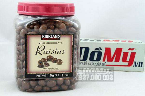Socola sữa bọc nho khô Kirkland Milk Chocolate Raisins 1,5kg của Mỹ