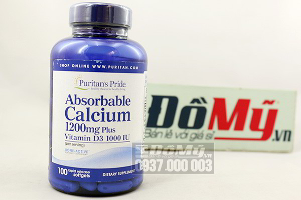 Viên uống bổ khớp Absorbable Calcium Puritan's Pride 100 viên của Mỹ