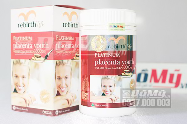 Nhau Thai Cừu làm đẹp da, trị nám của Úc Rebirth Platinum Placenta Youth loại 60 viên