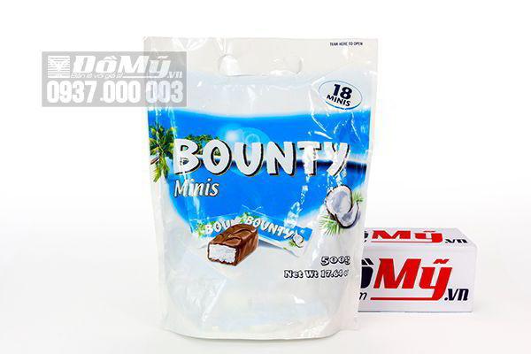 Kẹo sô cô la nhân dừa chocolate Bounty Minis 500g của Mỹ