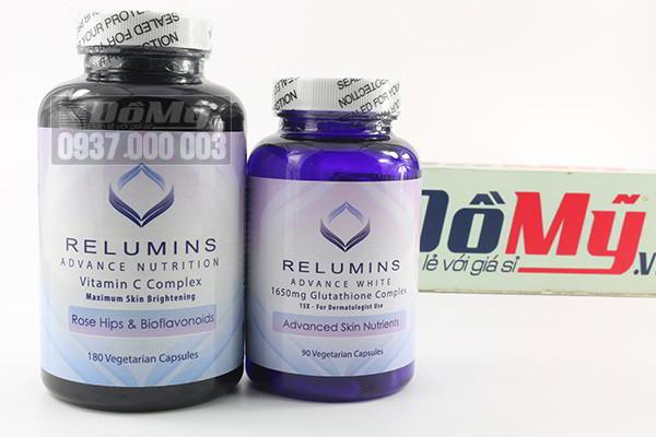 Bộ đôi giúp làm trắng da hiệu quả hoàn hảo Relumins Glutathione + Vitamin C Complex của Mỹ