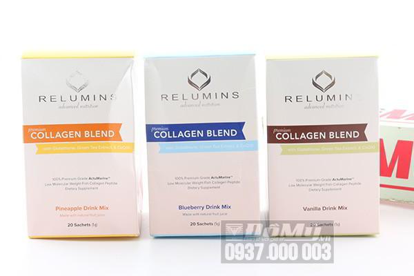 Relumins Advance Nutrition Premium Collagen Blend dạng bột hương dứa, việt quất, vanila hộp 20 gói của Mỹ