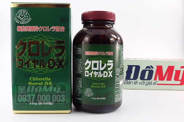 Viên uống bổ sung dưỡng chất tảo xoắn Chlorella Royal DX 1550 viên của Nhật Bản