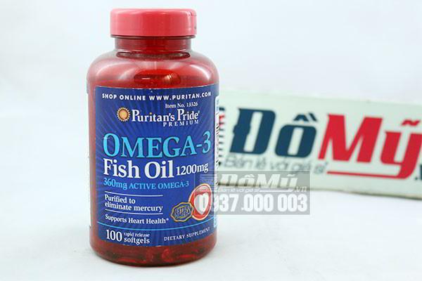 Dầu cá Puritan's Pride Omega 3 Fish Oil 1200mg 100 viên của Mỹ