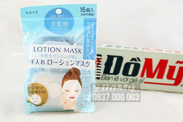 Mặt nạ giấy nén Kose Lotion Mask phù hợp với mọi loại Lotion 15 miếng của Nhật