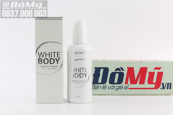 Set tẩy tế bào chết body skin scrub refinisher dạng chai xịt và kem dưỡng White Body của Hàn Quốc