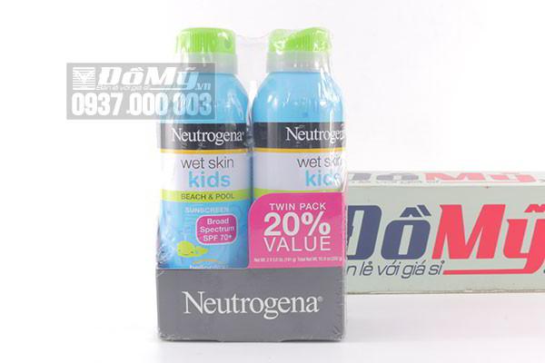 Bộ đôi xịt chống nắng trẻ em Neutrogena Wet Skin Kids Broad Spectrum SPF 70+ 2 x 141g của Mỹ
