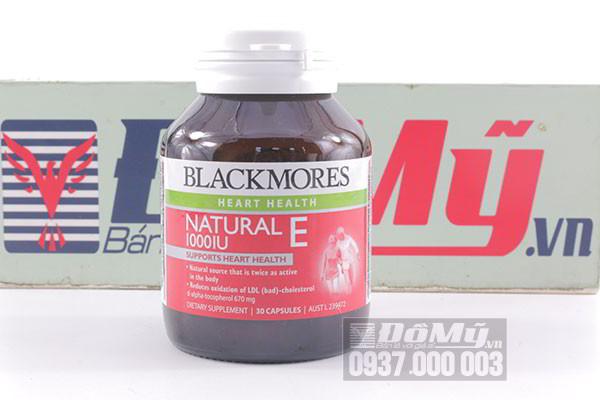 Viên uống bổ sung vitamin E Blackmores Natural E 1000IU hộp 30 viên của Úc