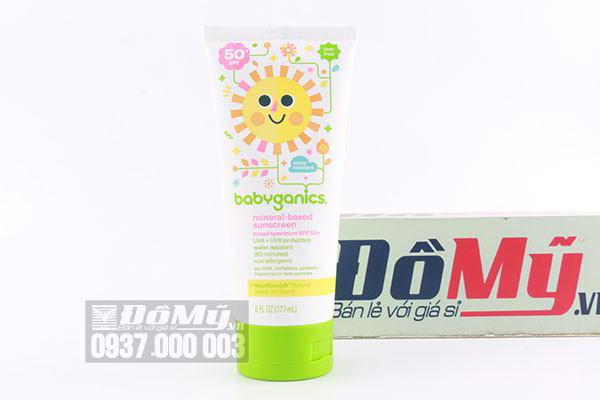Kem chống nắng Babyganics Mineral Based Sunscreen SPF 50+ Fragrance Free 177ml của Mỹ