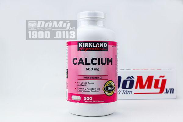 Viên uống Canxi Kirkland Calcium 600mg + D3 hộp 500 viên của Mỹ