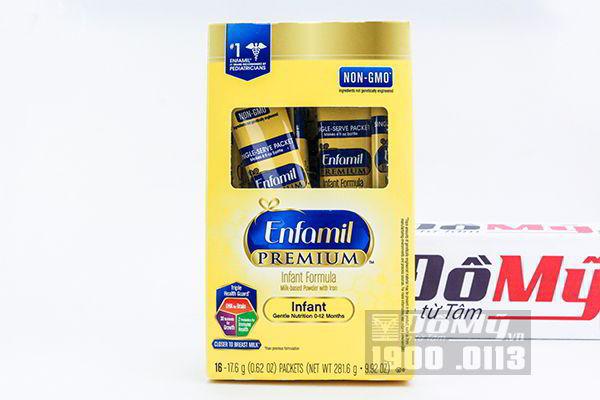 Sữa bột Enfamil Premium NON-GMO Infant Formula từ 0 - 12 tháng 16 gói nhỏ (hộp giấy)