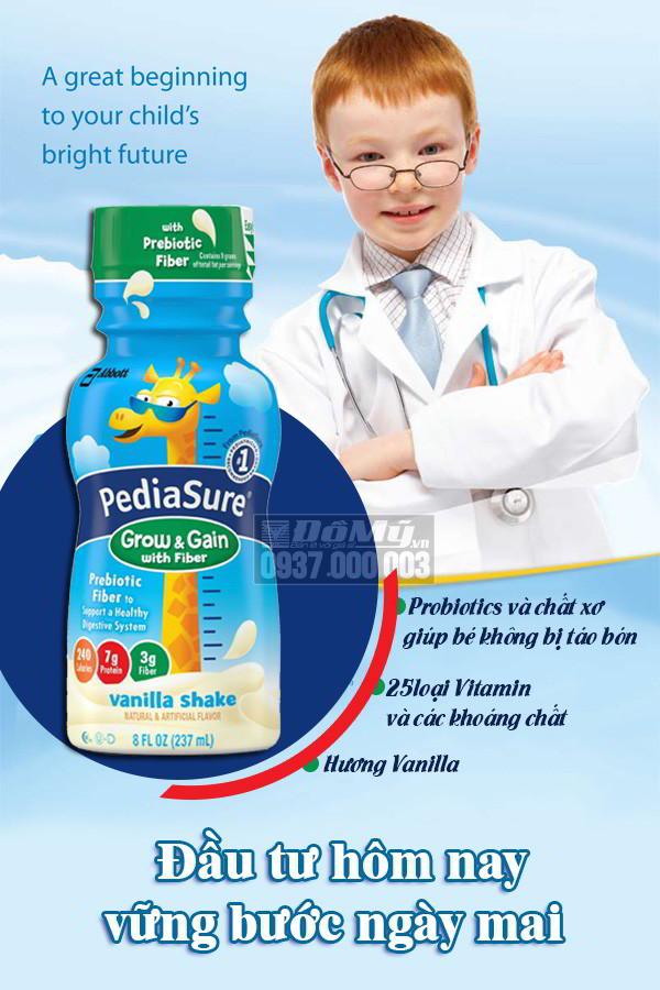 Sữa Pediasure nước Pediasure with Fiber hương vali 237 ml của Mỹ - đâu từ hôm nay vững bước ngày ngày mai