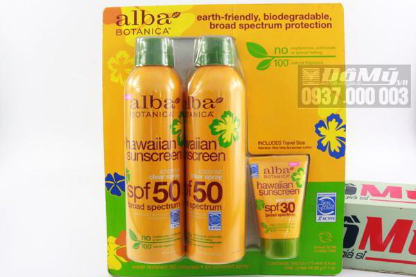 Set kem chống nắng Alba Botanica Hawaiian Sunscreen Coconut Clear Spray của Mỹ.
