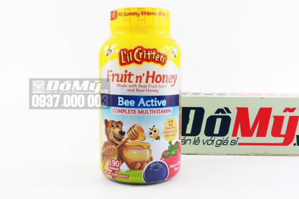 Kẹo dẻo gấu tổng hợp vitamin hoàn chỉnh L'il Crittess Fruit'n Honey Bee Active  Complete Multivitamin 190 viên của Mỹ