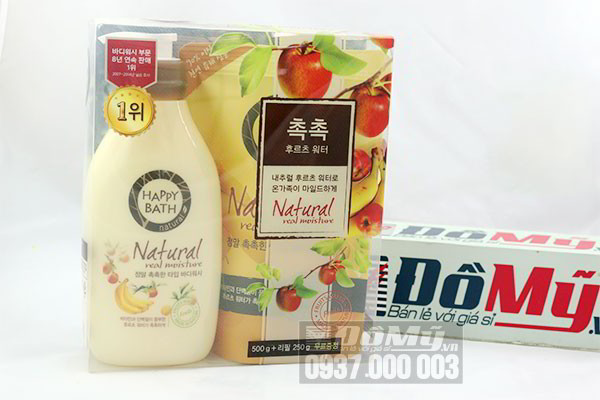 Bộ sữa tắm của Hàn quốc Happy Bath Natural Real Moisture loại 500g + 250g