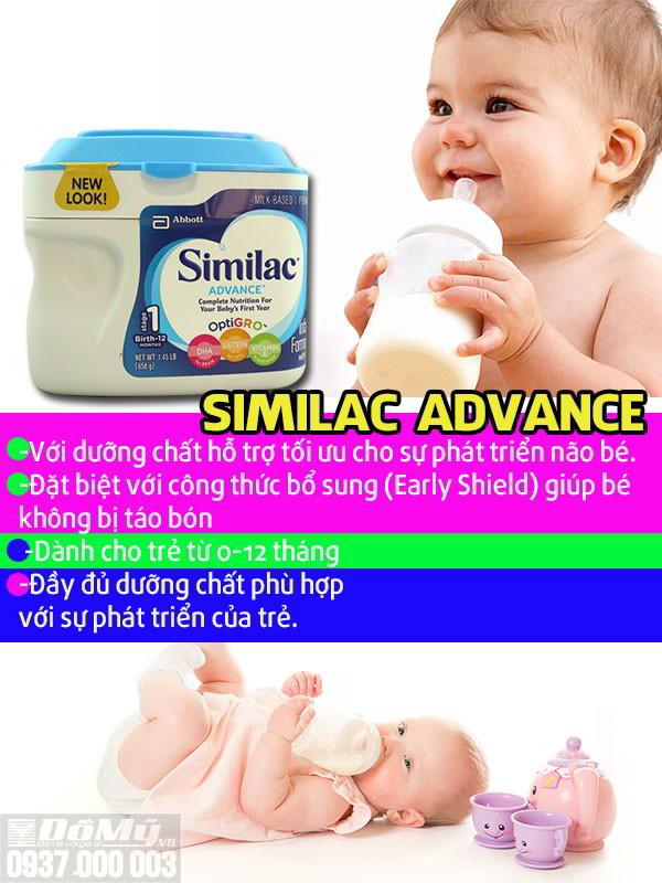 Sữa bột Similac Advance dành cho bé từ 0-12 tháng - Mỹ - đầy đủ dưỡng chất phù hợp với bé