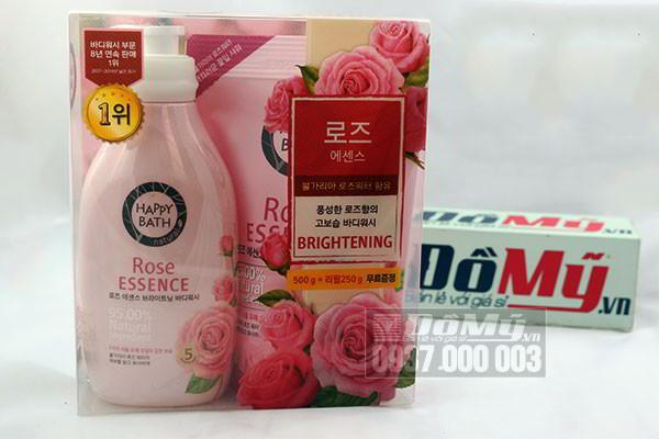 Sữa tắm hoa hồng của Hàn Quốc Happy Bath Rose Essence loại 500g + 250g