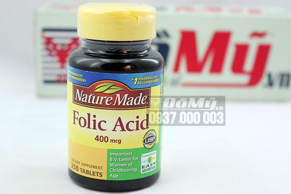 Thuốc Bổ Sung Axit Folic NATURE MADE FOLIC ACID 400MCG 250 VIỂN của Mỹ