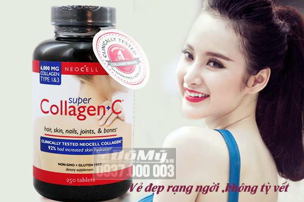 Super Collagen + C loại 250 viên giảm lão hoá , làm đẹp da - Mỹ