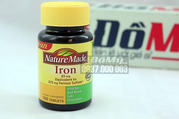 Viên uống bổ sung sắt Nature Made Iron 65 mg 180 viên của Mỹ