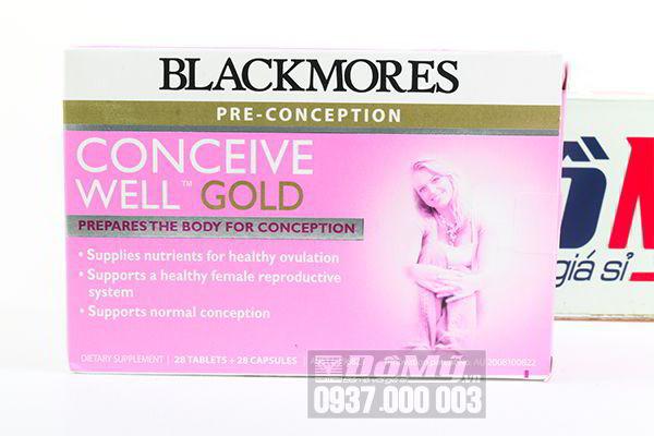 Thuốc bổ tăng cường thụ thai Blackmores Conveice Well Gold 56 viên của Úc