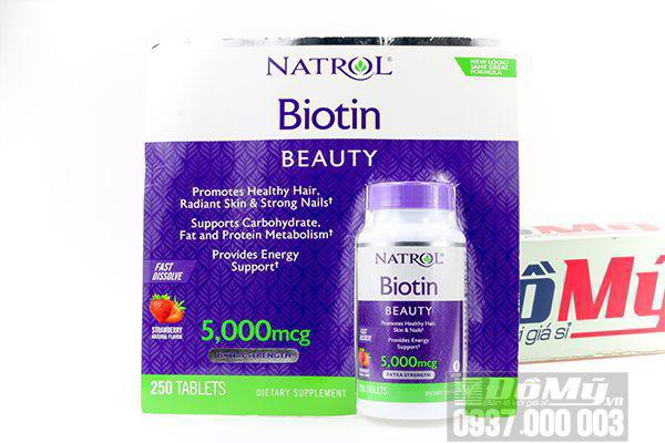 Viên nhai đẹp da tóc và móng Natrol Biotin Beauty 5000mcg 250 viên của Mỹ