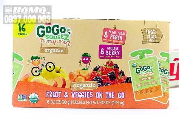 Nước trái cây và rau hữu cơ cho bé Go Go Squeez Organics 1.44g của Mỹ