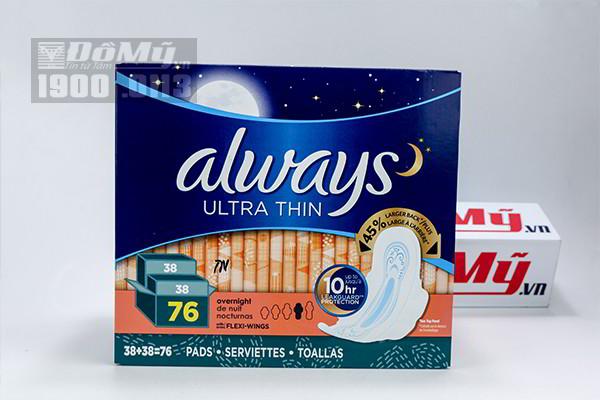 Băng vệ sinh Overnight Always Ultra Thin 76 miếng của Mỹ