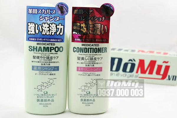 Bộ Dầu gội và xả mọc tóc của Nhật Kaminomoto Medicated Shampoo loại 300ml