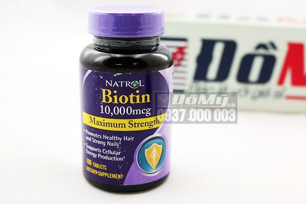 Viên uống mọc tóc Natrol Biotin 10,000mcg