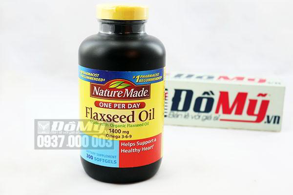 Dầu hạt lanh bổ sung Omega 3 6 9  Nature Made Flaxseed oil 1400 mg hộp 300 viên của Mỹ