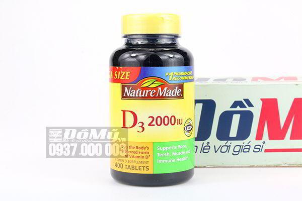 Viên uống bổ sung Vitamin D3 Nature Made Vitamin D3 2000 IU 400 viên của Mỹ