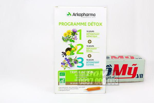 Detox thanh lọc cơ thể 3 giai đoạn giải độc gan, thận và làm đẹp da Arkopharma Programme Detox Triple Action của Pháp
