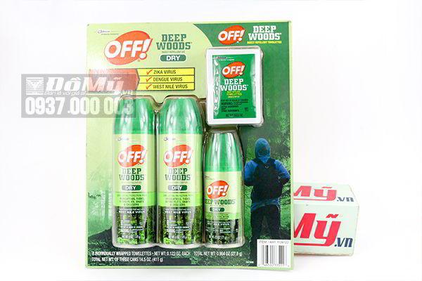 Set xịt chống muỗi và côn trùng Off Deep Woods Dry của Mỹ