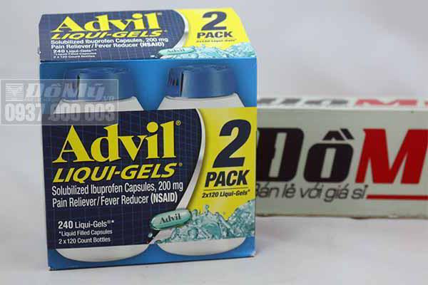 Thuốcuống giúp giảm đau hiệu quả Advil Liqui Gels, 2 x 120 viên của Mỹ