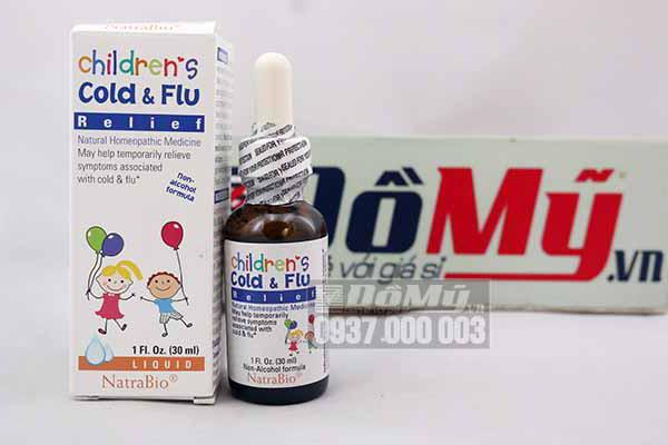 Siro cảm cúm  Children Cold & Flu Relief Natrabio 30ml của Mỹ