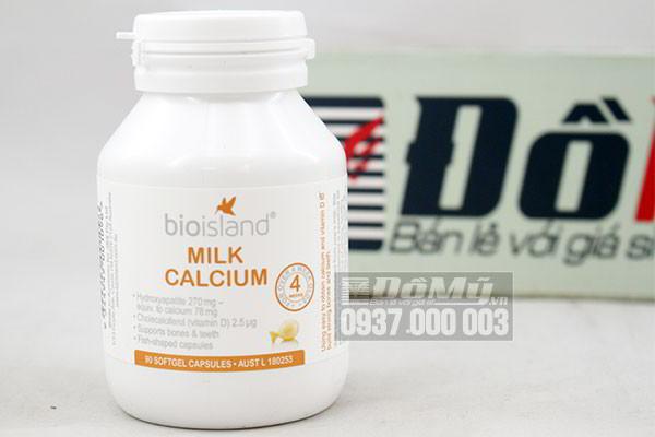 Viên uống bổ sung Canxi cho bé Bioisland Milk Calcium 90 viên của Úc