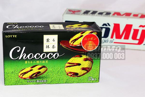 Bánh Cookie Chocolate và trà xanh chococo lotte hộp 17 bánh của Nhật