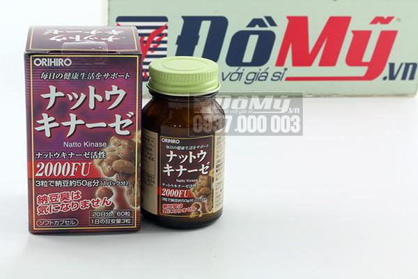 Viên uống giúp phục hồi, hỗ trợ điều trị tai biến Nattokinase 2000FU Orihiro hộp 60 viên cùa Nhật Bản