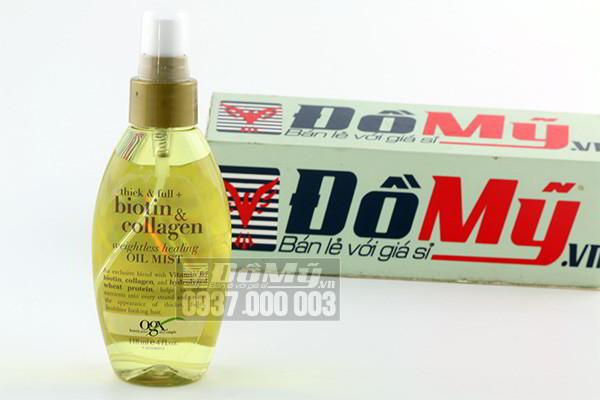 Dầu xịt dưỡng tóc Organix Biotin & Collagen Oil Mist chai 118ml của Mỹ