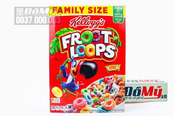 Bánh ngũ cốc ăn sáng nguyên hạt Kellogg's Froot Loops Family Size 615g của Mỹ
