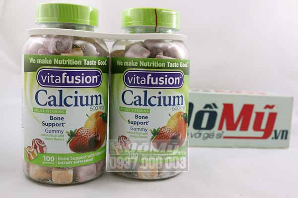 Bộ đôi Kẹo dẻo vitamin dành cho người lớn Calcium 500mg Gummy 100 viên của Mỹ