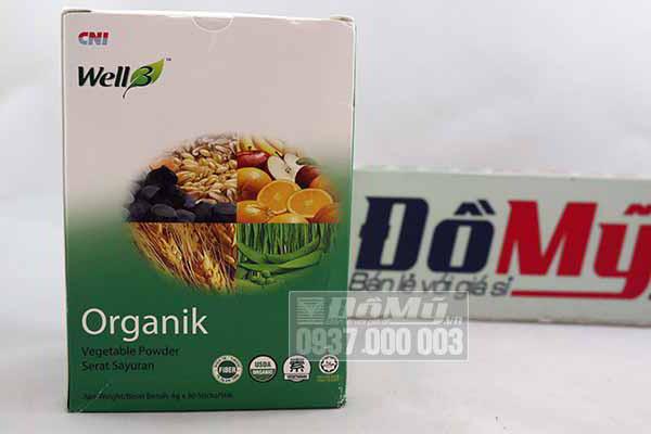 Bột rau xanh hữu cơ  Well3 Organik hộp 30 gói của Mỹ