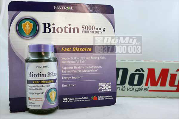 Thuốc mọc tóc Biotin 5000 mcg Fast Dissolve 250v