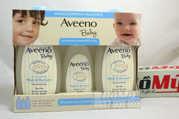 Set Dầu gội & tắm thiên nhiên dành cho trẻ sơ sinh Aveeno Baby gồm 2 chai 532mL và 1 chai 236mL