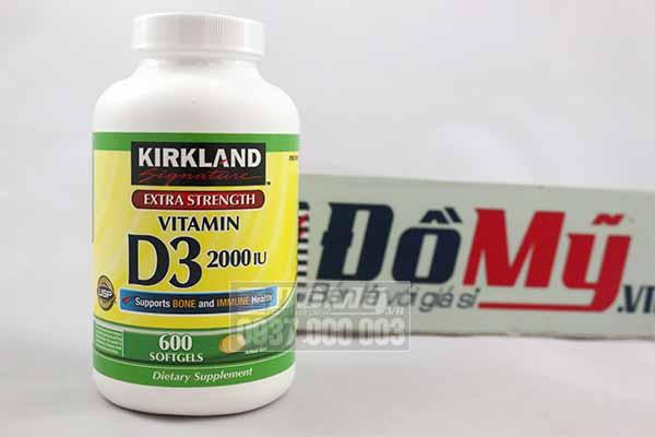 Vên uống bổ sung Vitamin D3 hỗ trợ cho sự phát triển xương, 2000 IU (Kirkland) hộp 600 viên của Mỹ