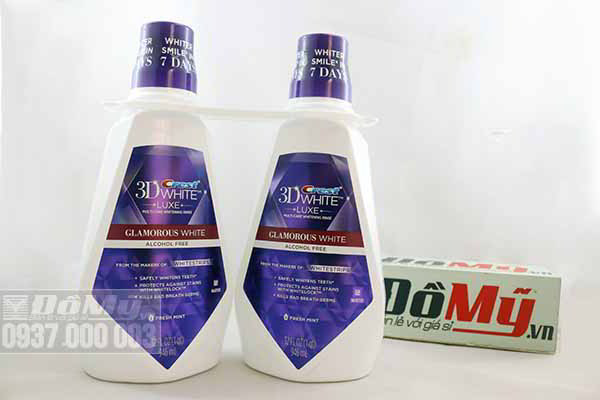 Nước súc miệng Crest 3D White Luxe Multi-care Whitening Rinse loại 946ml của Mỹ
