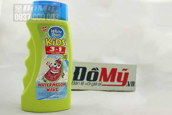 Sản phẩm tắm gội toàn thân cho bé White Rain Kids 3 trong 1 từ Mỹ