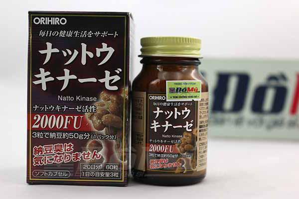 Viên uống giúp phục hồi, hỗ trợ điều trị tai biến Nattokinase 2000FU Orihiro hộp 50 viên cùa Nhật Bản