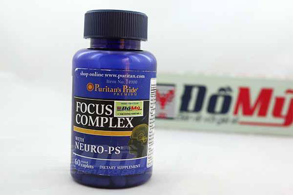 Viên uống tăng cường tập trung, bổ não  Focus Complex của Puritan's Pride hộp 60 viên của Mỹ